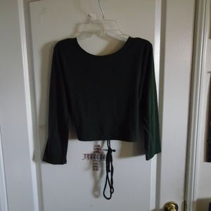Tops - USED Forever 21:Drake Green Midsleeve Crop Shirt
